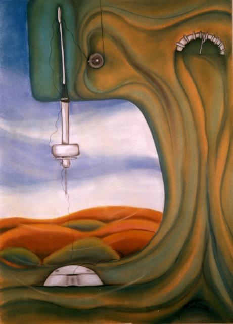 Meine spanische Nähmaschine/1992/Pastellkreide auf Pappe